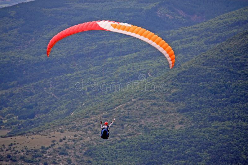 Paraglider in the French Alps stock photo