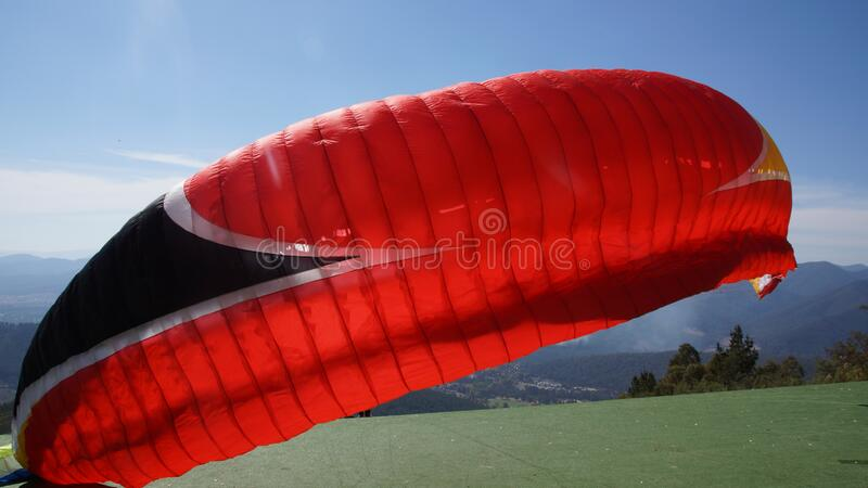 Paraglider getting ready to fly royalty free stock photo