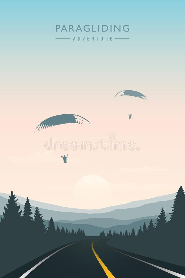 Free Paraglider In The Sky On Road And Mountain Background Royalty Free Stock Photography - 197811057