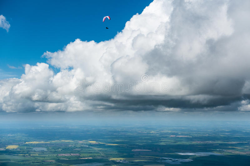 Paraglider over English country side stock photo