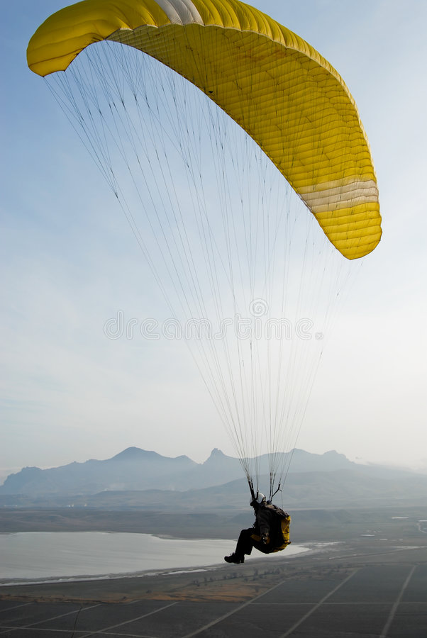 The paraglider pilot, Koktebel. royalty free stock photos