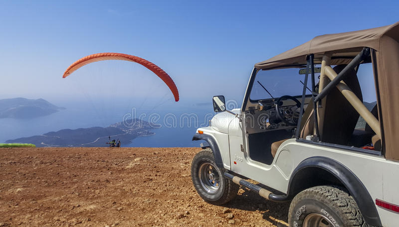 Paraglider take off stock photo