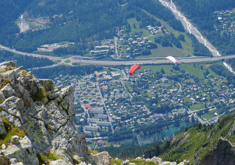 Paragliders fotografia de stock royalty free