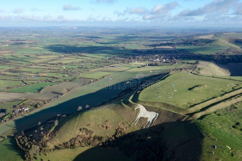 Paragliders em Westbury fotos de stock