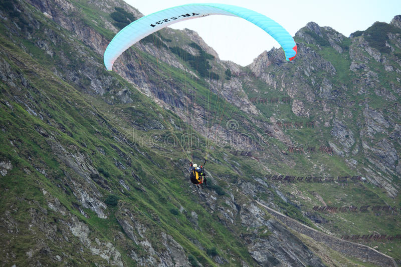 Paragliders over Fagaras Mountains royalty free stock photo