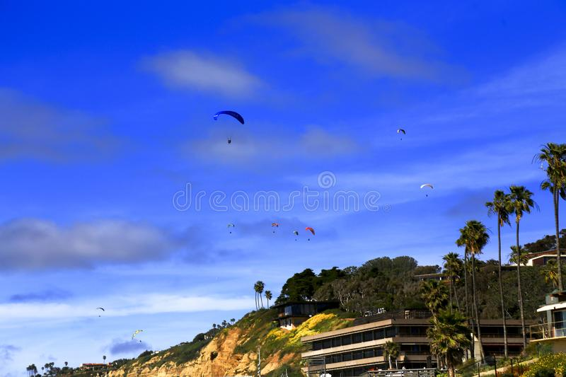 Paragliders Over La Jolla Shores royalty free stock photography