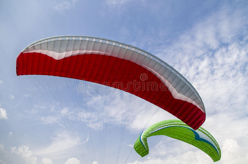 Paragliders. Para-gliders flying in the sky of Pokhara, Nepal stock photos