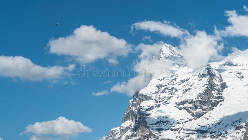 Paragliding above the Alp mountains stock image