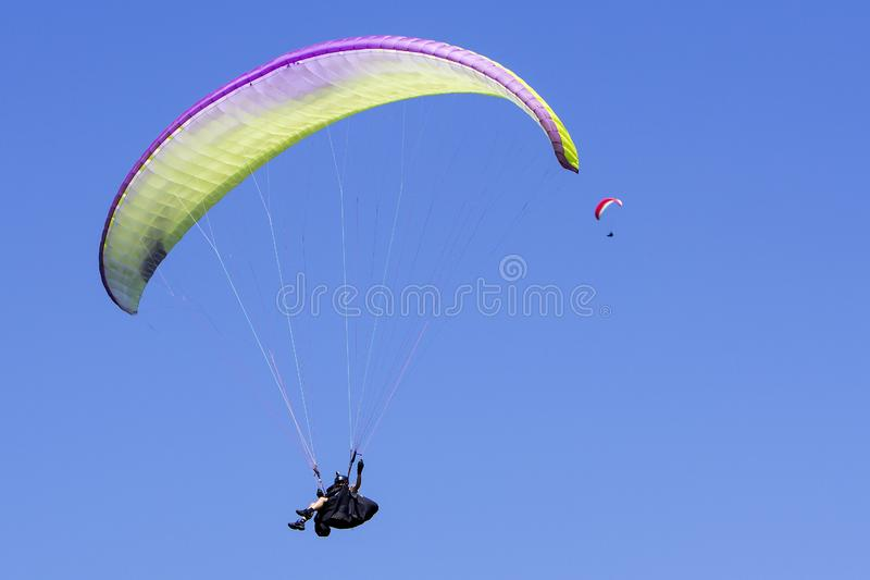 Paragliding In The Blue Sky As Background Editorial ...