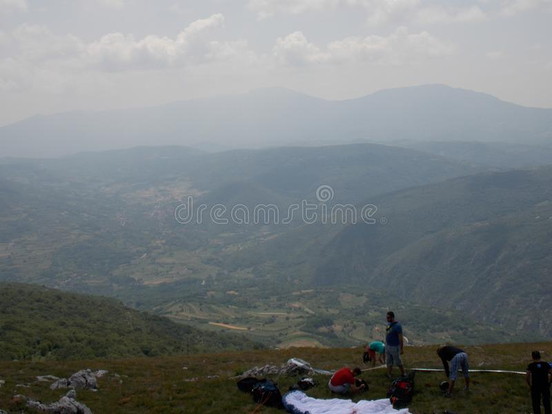 Paragliding cross country competition stock photo