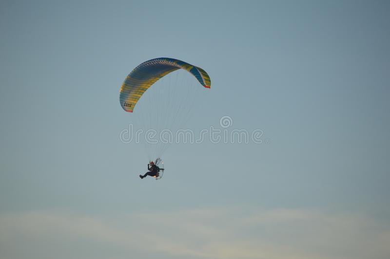 Paragliding at dusk in the UK stock photo