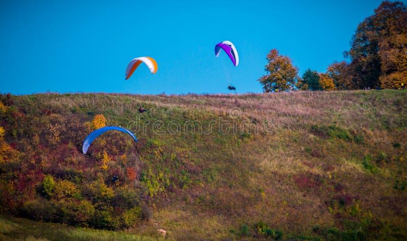 Paragliding i nedgångnatur arkivbild