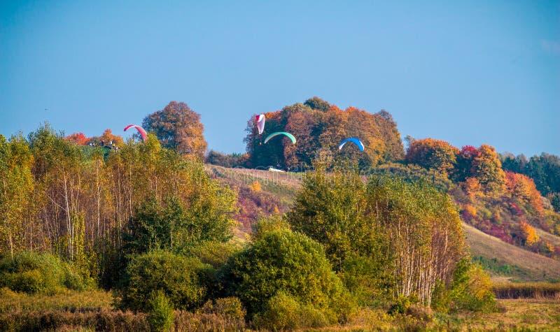 Paragliding i nedgångnatur royaltyfri foto