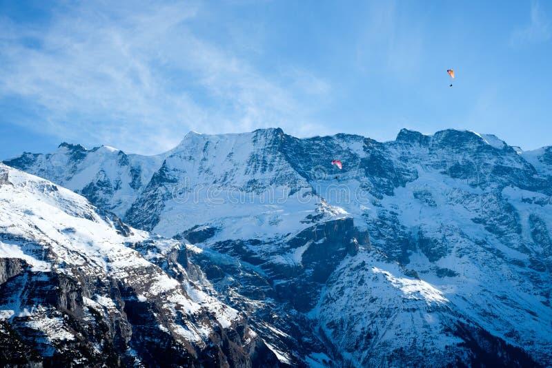 Paragliding Jungfrau arkivbilder