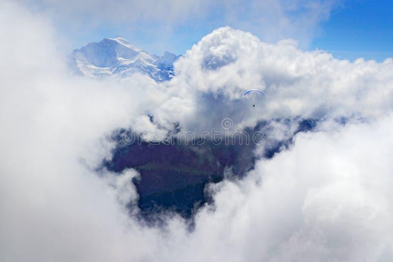 Paragliding lot nad górą w Szwajcaria Paraglider między niskimi chmurami z śnieżnymi górami jako tło i niebo obrazy royalty free