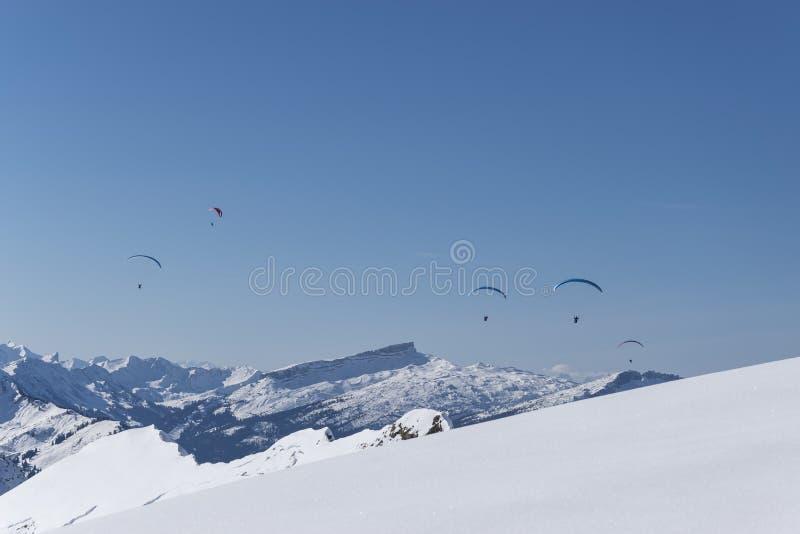 Paragliding nad Alps w zimie obraz stock