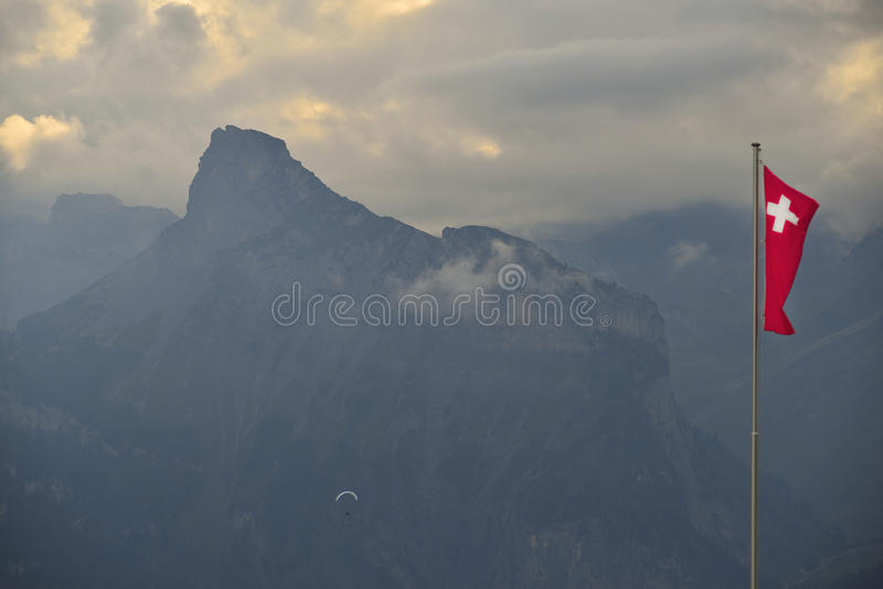 Paragliding over alps mountains. Berner-Oberland. Switzerland stock image