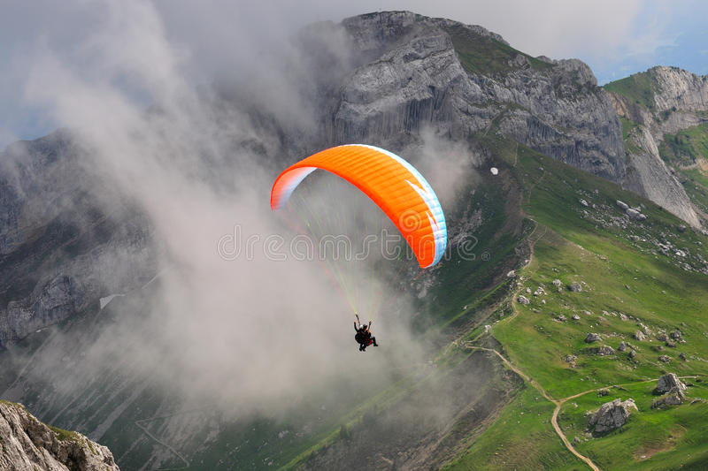 Paragliding at Pilatus mountain, Switzerland royalty free stock images