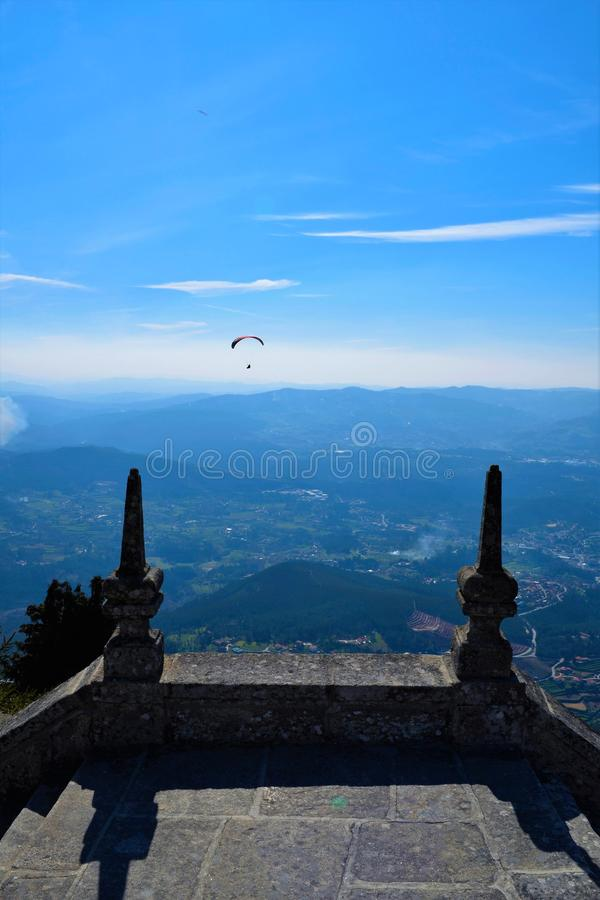 Paragliding in Portugal royalty free stock photography