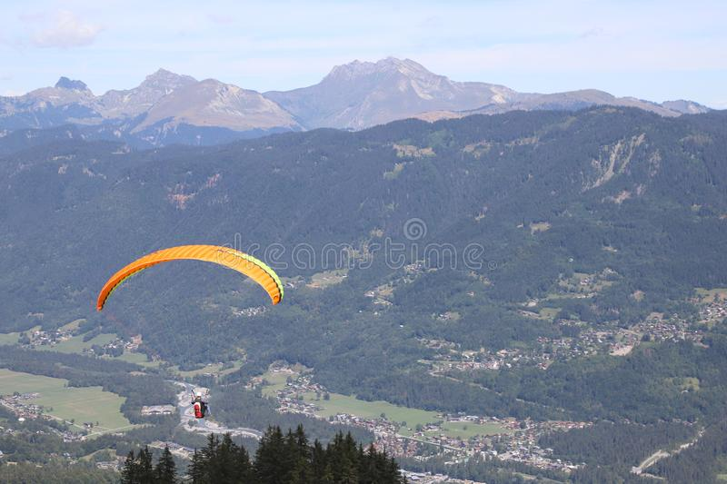 Paragliding in Samoens, French Alps royalty free stock photo
