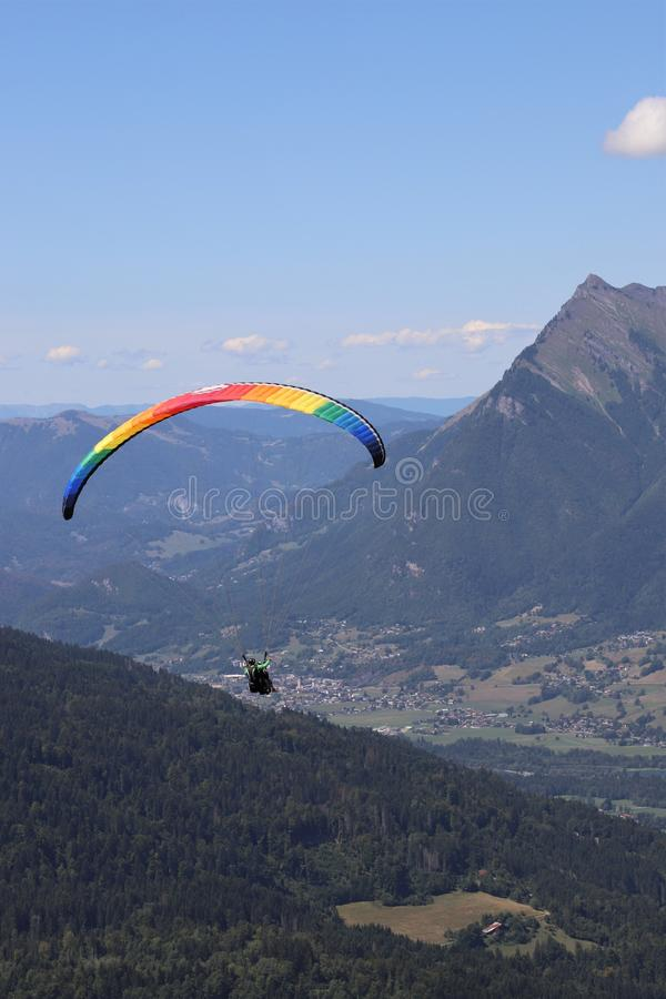 Paragliding in Samoens, French Alps stock photography