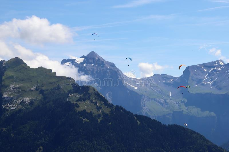 Paragliding in Samoens, French Alps stock image