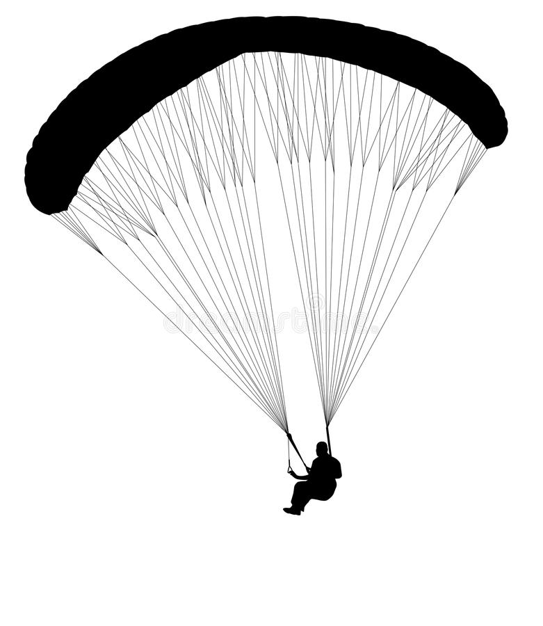 Paragliding silhouette vector illustration