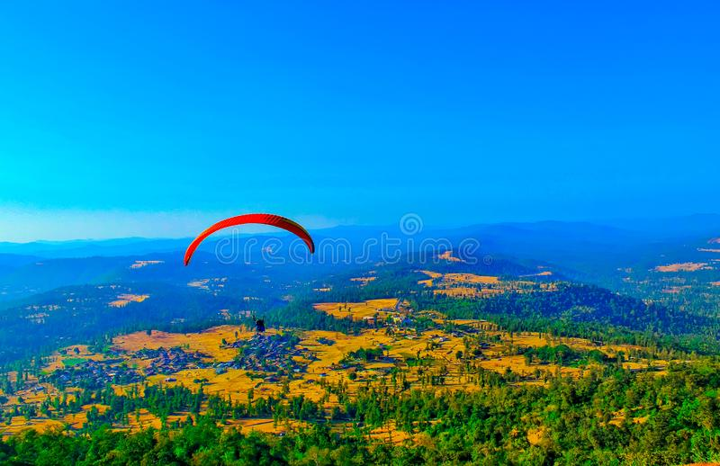 Paragliding in the sky,Paragliding for the first time it appears here, Extreme sport,paragliding stock images