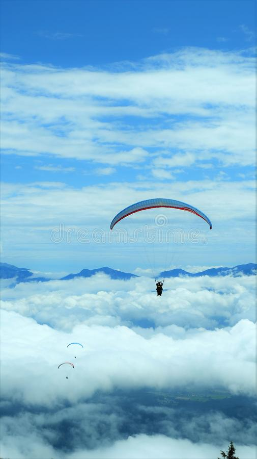 Paragliding into the sky, Gelitzen, Austria royalty free stock photography