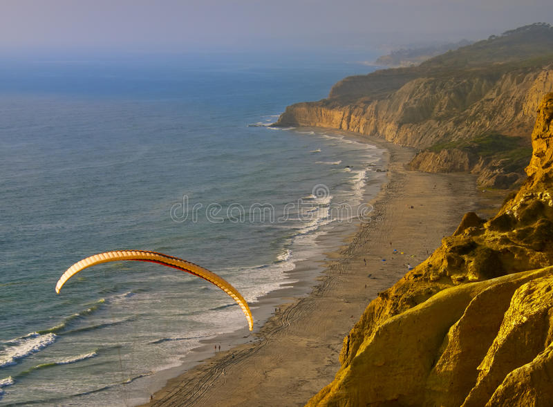 Paragliding at Sunset, California royalty free stock photography