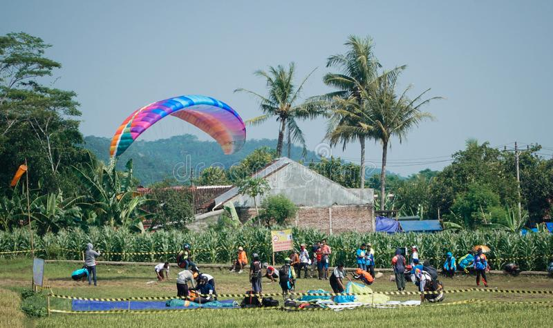 Paragliding Trip Of Indonesia 2019, Series 1st-2019, April 25-28, 2019 at Sikuping Hill, Batang, Central Java, Indonesia. Paragliding trip indonesia 2019 series stock photography