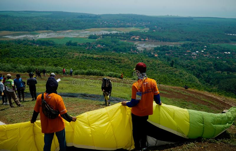 Paragliding Trip Of Indonesia 2019, Series 1st-2019, April 25-28, 2019 at Sikuping Hill, Batang, Central Java, Indonesia. Paragliding trip indonesia 2019 series stock photo