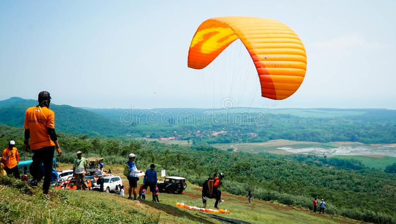 Paragliding Trip Of Indonesia 2019, Series 1st-2019, April 25-28, 2019 at Sikuping Hill, Batang, Central Java, Indonesia. Paragliding trip indonesia 2019 series stock images