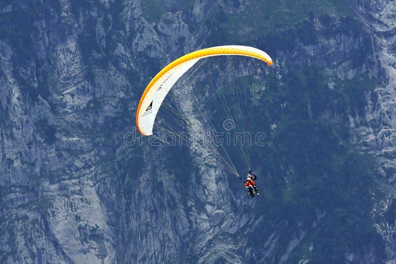 Paragliding w Alps, Grindelwald (Szwajcaria) obraz stock