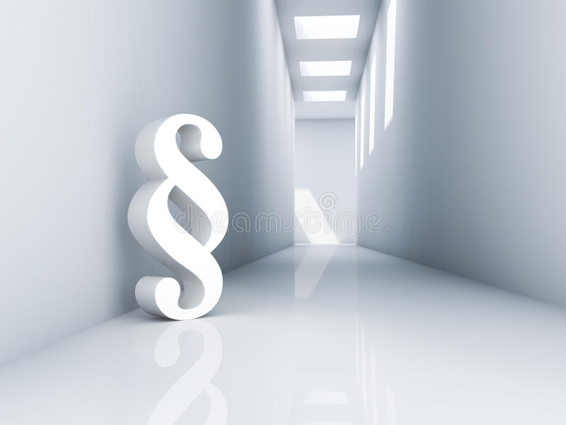 Paragraph. Rendering of a white paragraph symbol in a corridor vector illustration