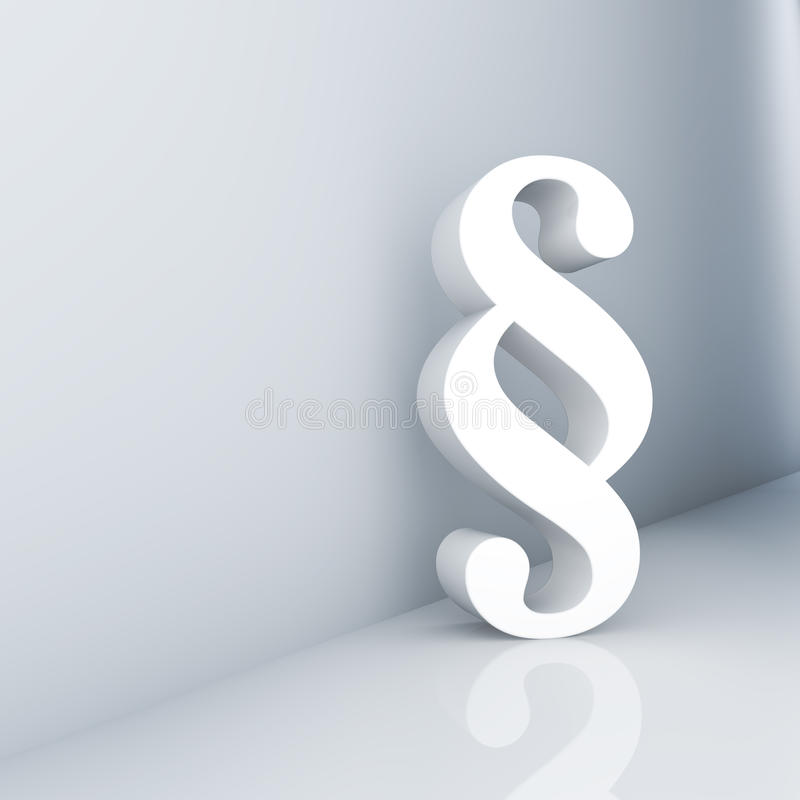 Paragraph. Rendering of a white paragraph symbol in a corridor stock illustration