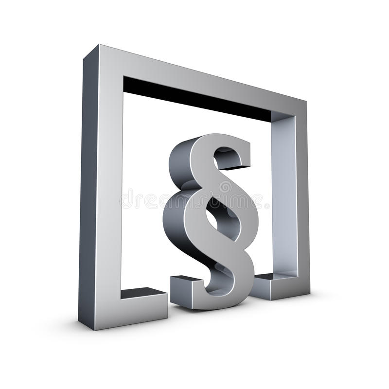 Paragraph. Rendering of a silver paragraph symbol on a white background stock illustration