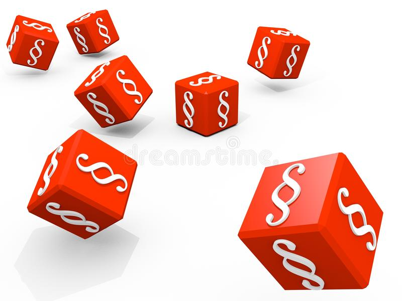 Paragraph. Symbols of paragraph on falling red cubes vector illustration