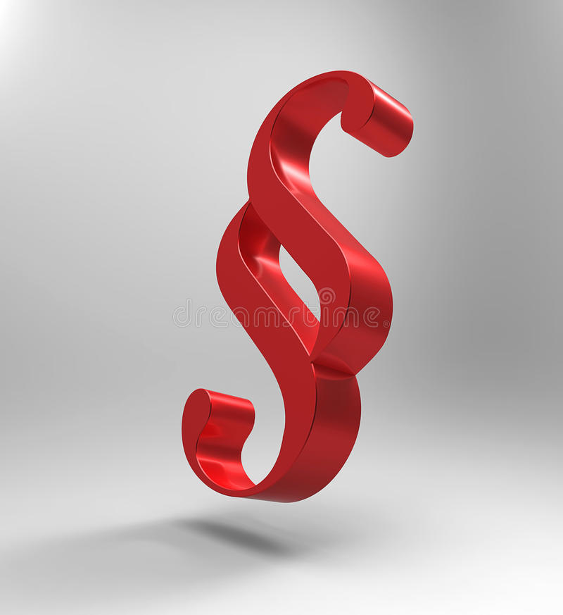 Paragraph. 3d render of a flying red paragraph symbol royalty free illustration