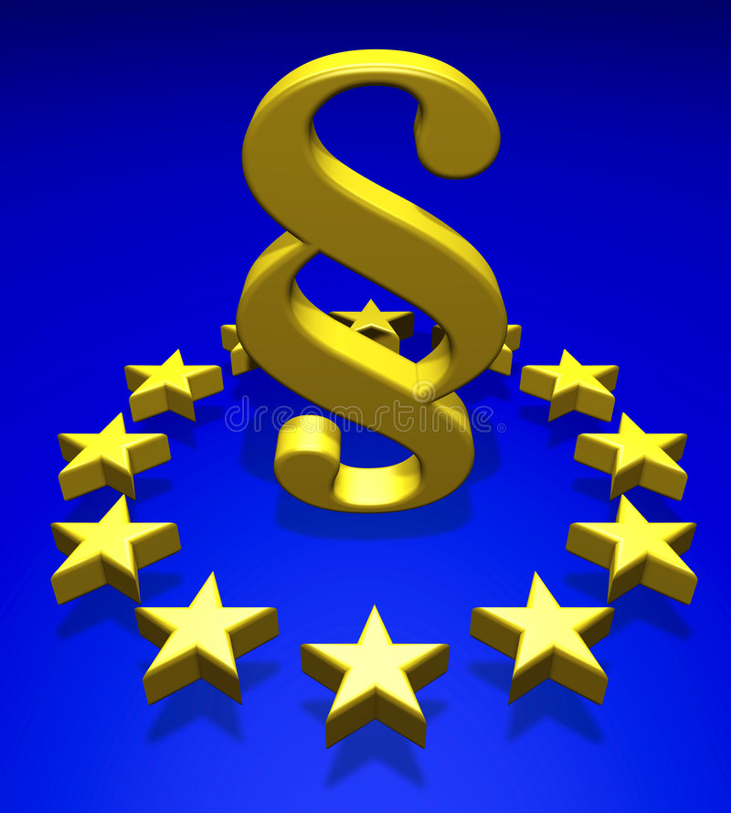 Paragraph. Golden paragraph symbol in the middle of golden stars stock illustration