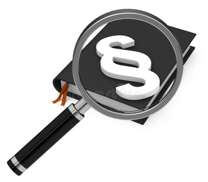 The paragraph. 3d generated picture of a white paragraph sign on a black book and a magnifying glass vector illustration