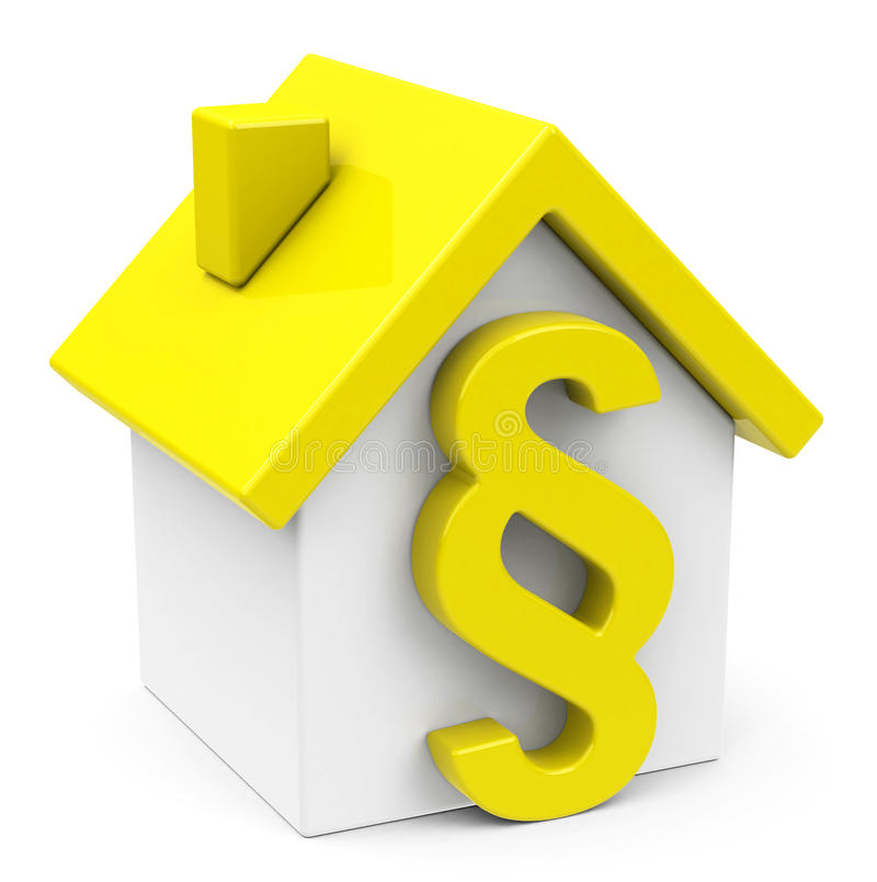 The paragraph house. 3d generated picture of a yellow house and a paragraph sign vector illustration