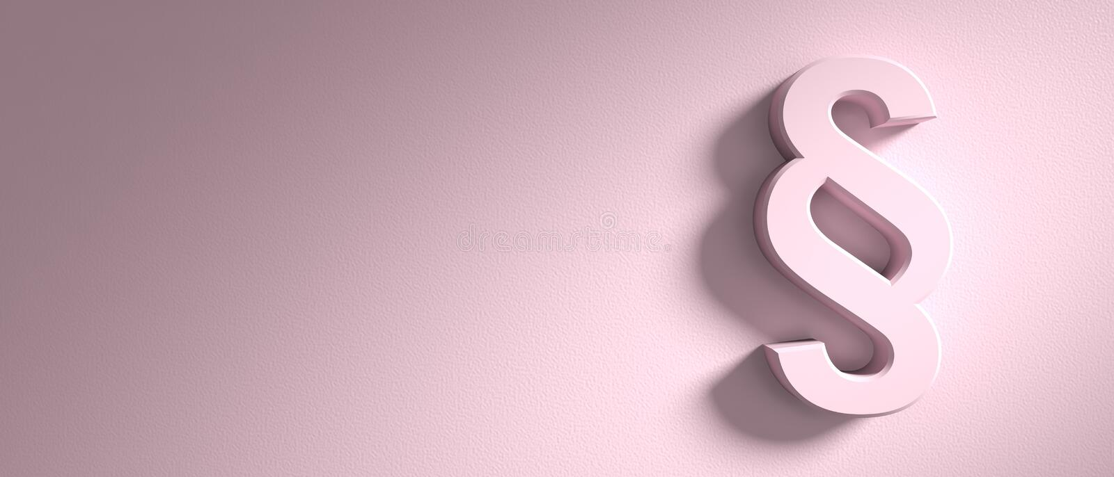 Paragraph, section sign on pink wall background, banner, copy space. 3d illustration. Paragraph concept, section sign on pink wall background, banner, copy space stock illustration