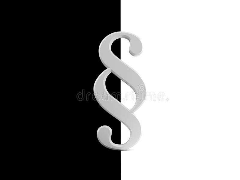 Paragraph symbol on black and white background stock illustration