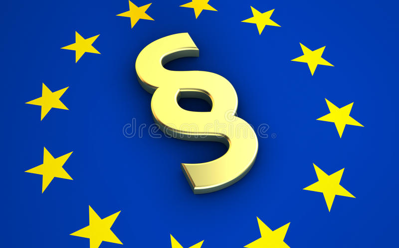 Paragraph Symbol On EU Flag. European community law, rules and legal system concept with EU flag and golden paragraph symbol vector illustration