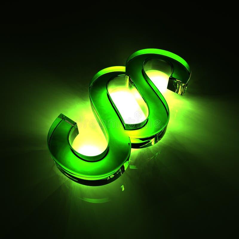 Paragraph symbol glass - green royalty free illustration