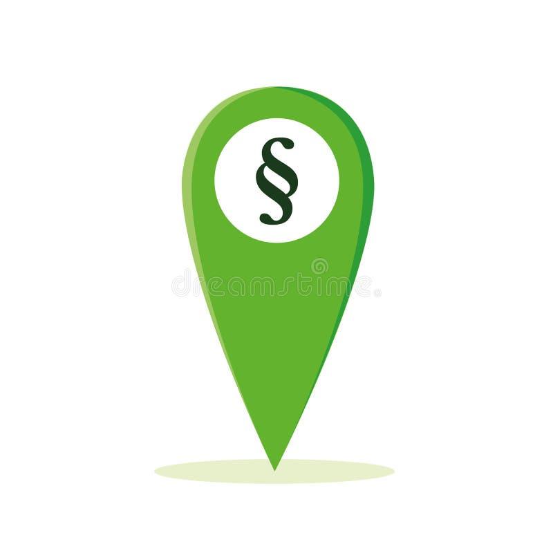 Paragraph symbol on green map pointer stock illustration