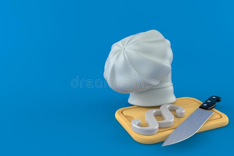 Paragraph symbol with kitchen board and chef`s hat. Isolated on blue background. 3d illustration vector illustration