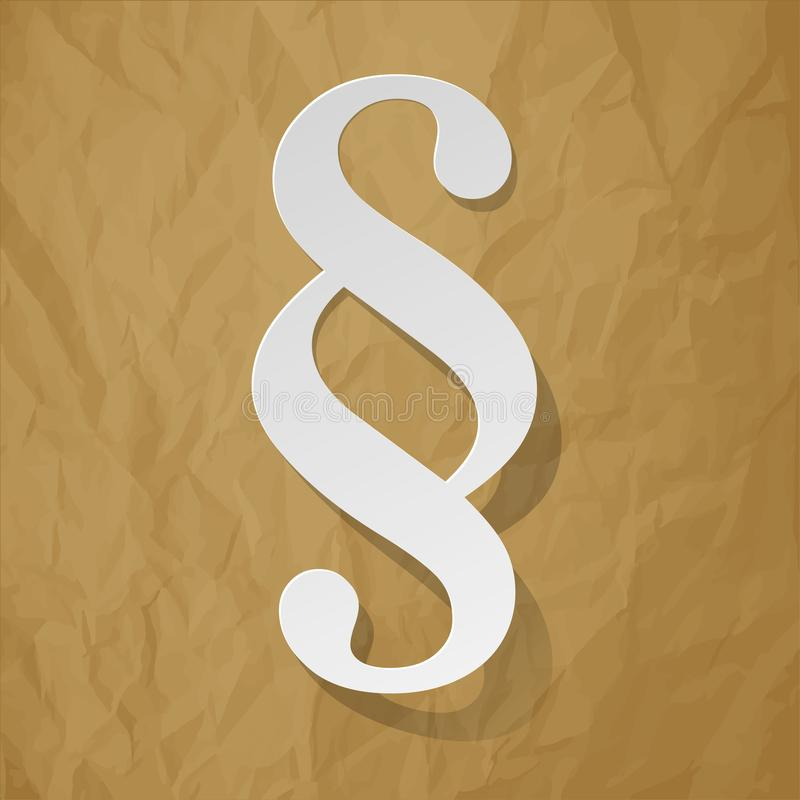 Paragraph white symbol on a crumpled paper brown background. royalty free illustration