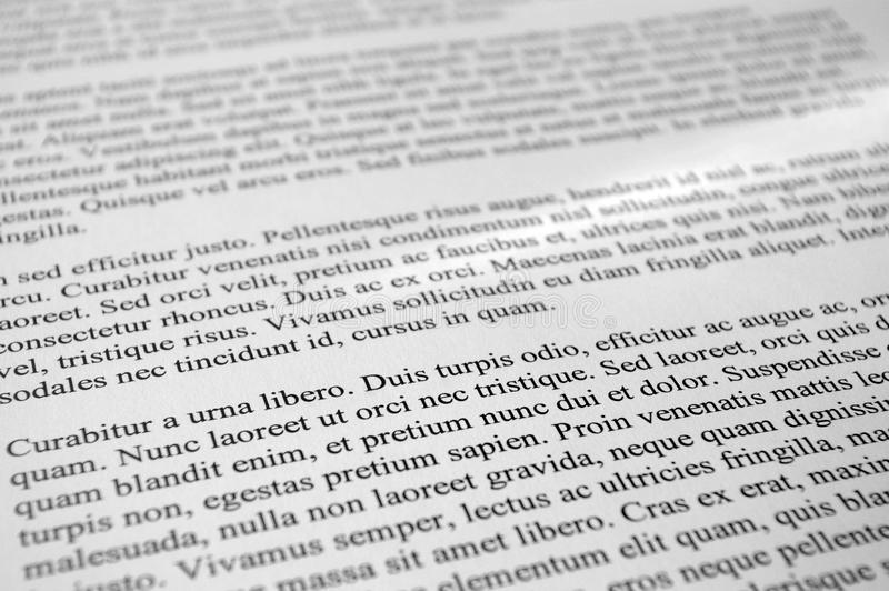 Paragraphes des textes de lorem ipsum images stock